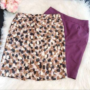 J.CREW Neapolitan and Purple Pencil Skirts bundle